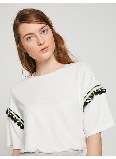 Koton Pul Detaylı T-Shirt Ekru